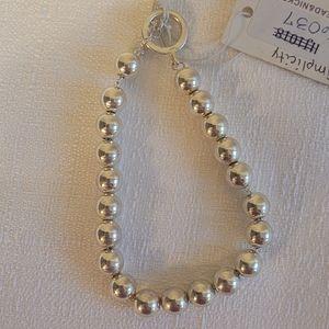 Just Jewelry Simplicity Silvertoned Bead Bracelet